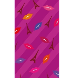 Lips and Eiffel Tower background vector image