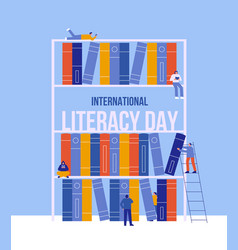 Literacy day library book shelf people reading vector
