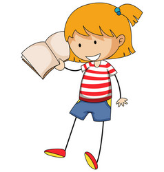 Little girl reading book doodle cartoon character vector
