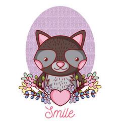 lovely raccoon cartoon vector image