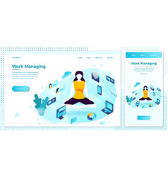 meditating business girl with online work vector image