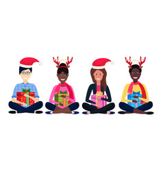 mix race people group deer horns red hat sitting vector image