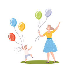 mom and little boy walking with colorful balloons vector image