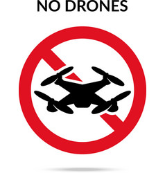 No drones sign Drone flights limitations in public vector