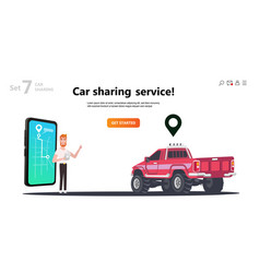 online carsharing map on screen smartphone vector image