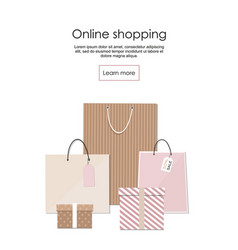 online shopping banner group of shopping bags vector image