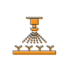 Orange automatic irrigation sprinklers icon vector