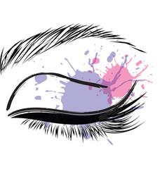 Pink purple splash female closed female eye vector