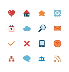 Pixel Web Icons Set vector image