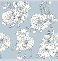 poppies seamless pattern blue background vector image