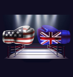 realistic boxing gloves with prints of the usa vector image