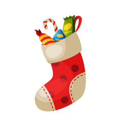 red sock with sweets christmas and new year vector image