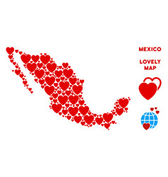 Romantic mexico map mosaic of hearts vector