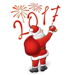 Santa draws 2017 and fireworks vector image