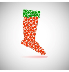 Santas red stocking Concept of christmas or vector image