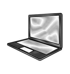 scribble laptop cartoon vector image
