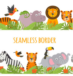 Seamless border with jungle animal vector