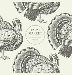 seamless farm pattern graphical turkey vector image