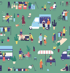 seamless pattern with garage sale outdoor vector image