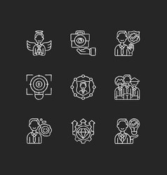 Service with integrity chalk white icons set vector