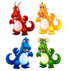 set of different dragon vector image