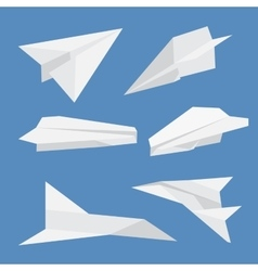 set paper planes airplane isolated vector image