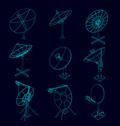 set with contours of satellite dishes vector image