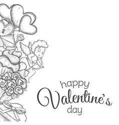 Side vertical border with sketch valentines day vector