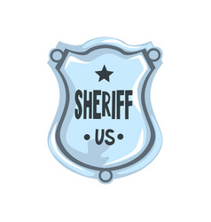silver sheriff shield badge american justice vector image