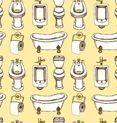 Sketch toilet and bathroom eguipment in vintage vector image