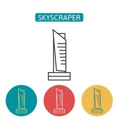 skyscraper building outline icons set vector image