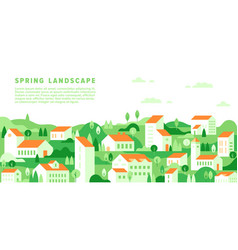 spring cityscape in simple minimal geometric flat vector image