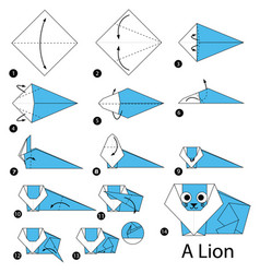Step instructions how to make origami a lion vector