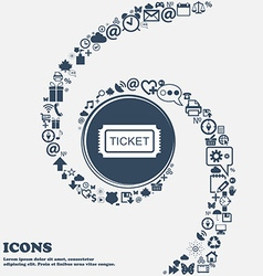 Ticket sign icon in the center Around the many vector image