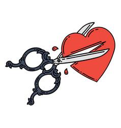 Traditional tattoo scissors cutting a heart vector