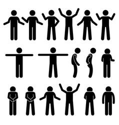 Various body gestures hand signals human man vector