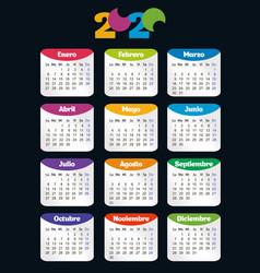 Vertical color pocket calendar on 2020 year week vector