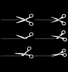 white cutting scissors icons and line points vector image