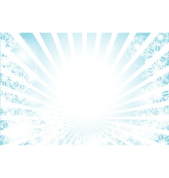 Winter sunburst with sun flare and snowflake vector image