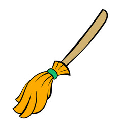 witches broom icon cartoon vector image