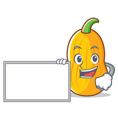 With board butternut squash character cartoon vector
