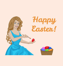 Woman coloring eggs vector