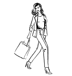 woman with shopping bags vector image vector image