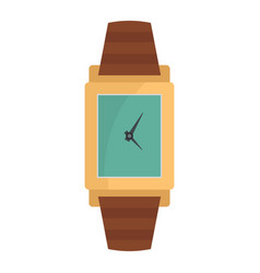 Wristwatch wood icon flat style vector
