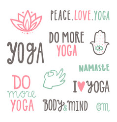 Yoga quotes set hand drawn lettering vector