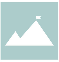 Mountains with a flag on top the white color icon vector