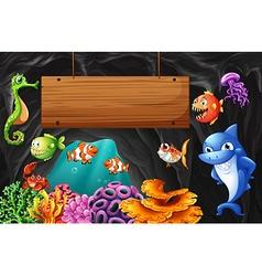 Sea animals swimming around wooden sign vector image
