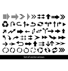 set of black arrows on a white background vector image