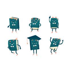 set of funny book characters mascots cartoon vector image vector image