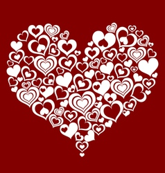Abstract heart made from small hearts vector image vector image